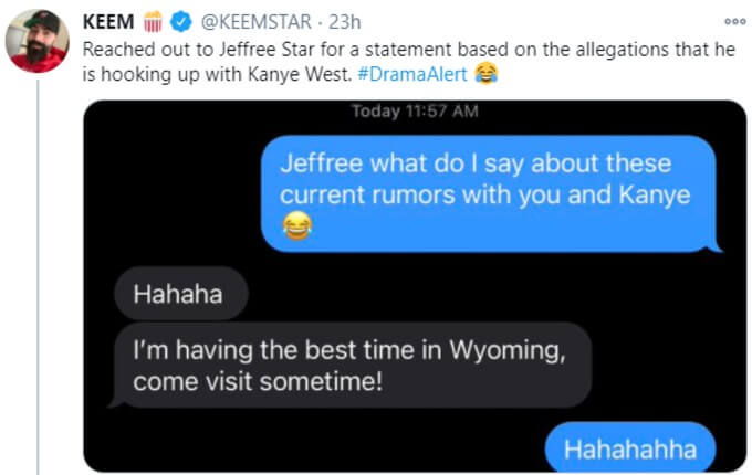 Keemstar tweets text convo with Star