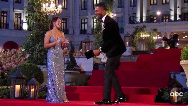 The Bachelor Matt James laughing with contestant on premiere episode