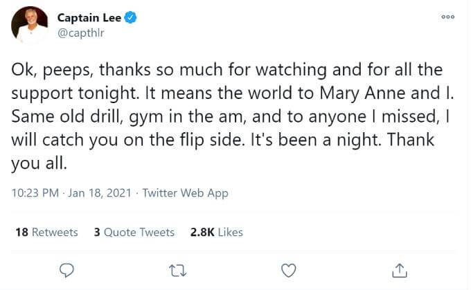 Captain Lee thanked fans for their heartfelt messages.