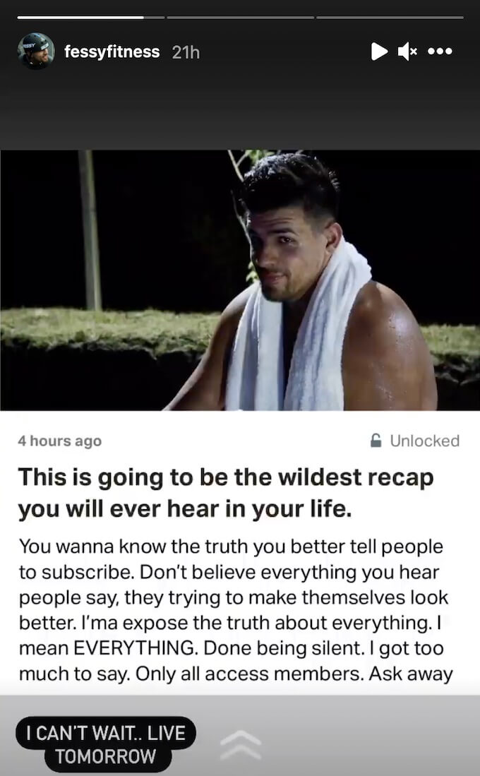 fessy shares he has things to reveal on patreon
