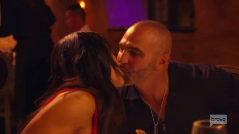 Melissa and Joe Gorga kiss in the RHONJ trailer.