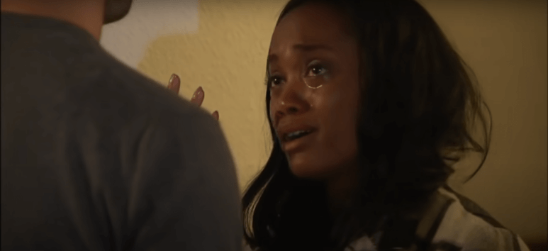 Rachel Lindsay crying during her breakup with Peter Kraus