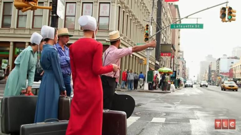 Return to Amish cast attempting to catch a cab in New York