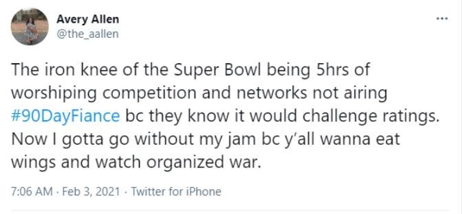 Screenshot of Super Bowl vs. 90 Day Fiance Twitter comment.