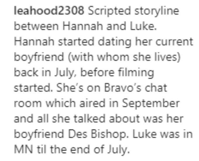 A fan points out that Hannah started dating her boyfriend before filming started