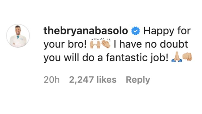 Bryan Abasolo's response to Emmanuel Acho being chosen to host ATFR.