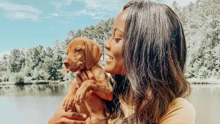 Ciarra Miller holding a puppy-Summer House