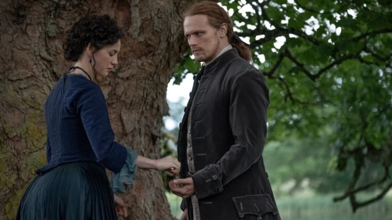 Caitriona Balfe as Claire and Sam Heughan as Jamie, as seen in Season 5 of Starz's Outlander