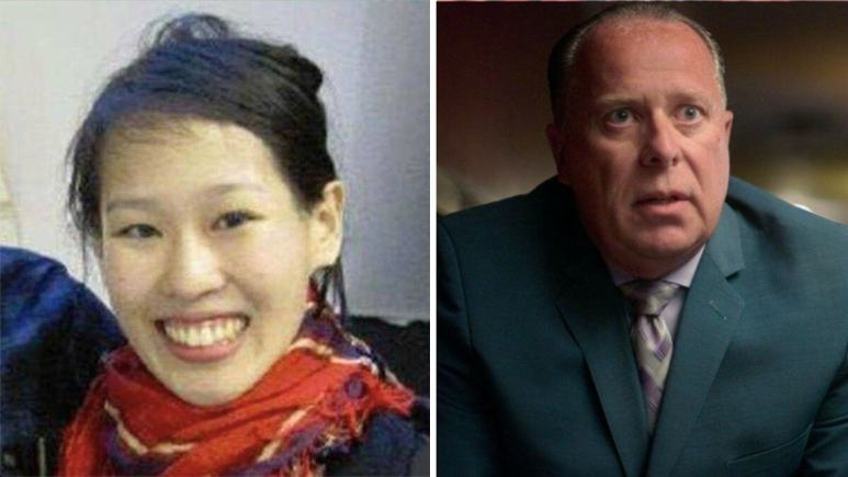 Image of Elisa Lam and LAPD detective Tim Marcia.