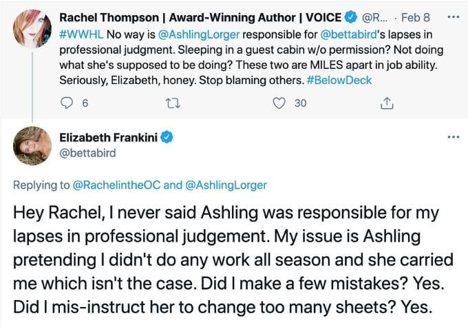 Elizabeth trades Tweets with fan.
