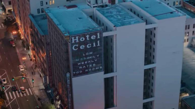 Image of the Hotel Cecil from the Netflix documentary Crime Scene: The Vanishing at the Cecil Hotel.