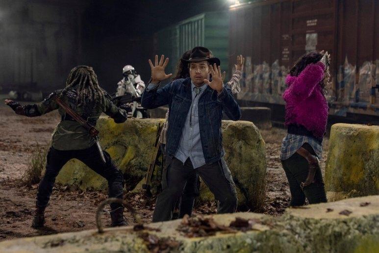 Khary Payton as Ezekiel, Josh McDermitt as Dr. Eugene Porter, and Paola Lazaro as Princess, as seen in Episode 16 of AMC's The Walking Dead Season 10B