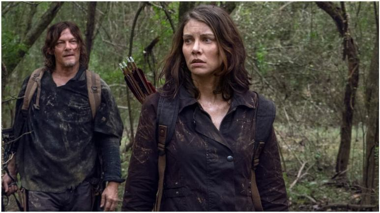 Norman Reedus as Daryl Dixon and Lauren Cohan as Maggie Rhee, as seen in Season 10C of AMC's The Walking Dead