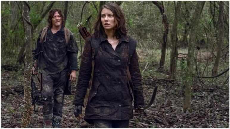 Norman Reedus as Daryl Dixon and Lauren Cohan as Maggie Rhee, as seen in Season 10C of AMC's The Walking Dead