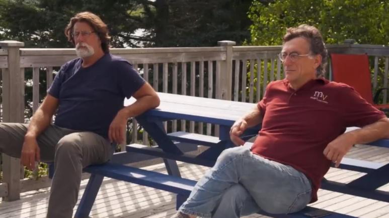 Rick and Marty Lagina relax in the sun on Oak Island