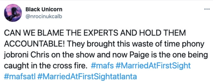 Twitter fan shares outrage at experts pairing of Chris and Paige