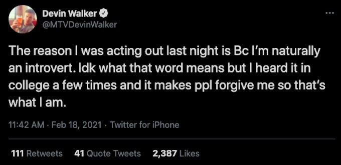 Devin Walker tweets about Fessy being an introvert