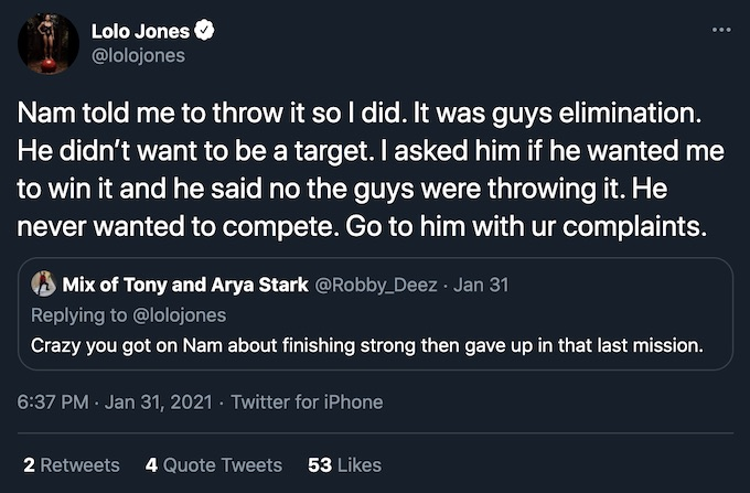 lolo jones replies to fan claiming she gave up on the challenge double agents mission