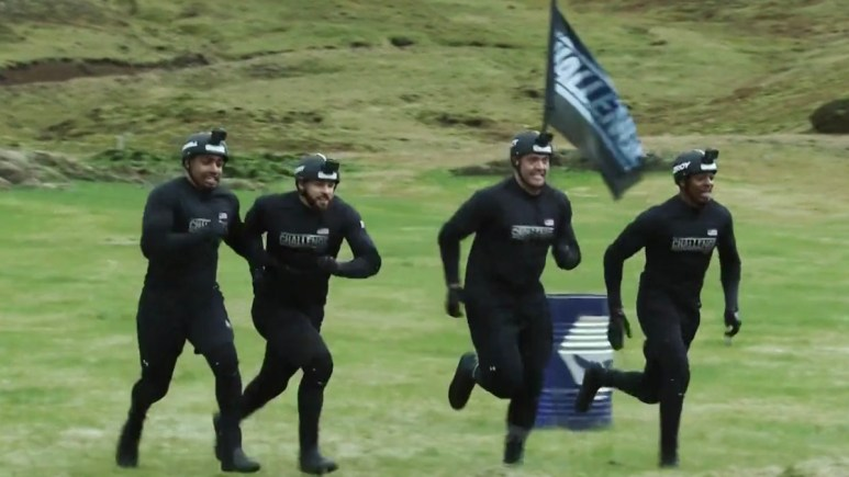 male competitors race in a daily mission on the challenge double agents
