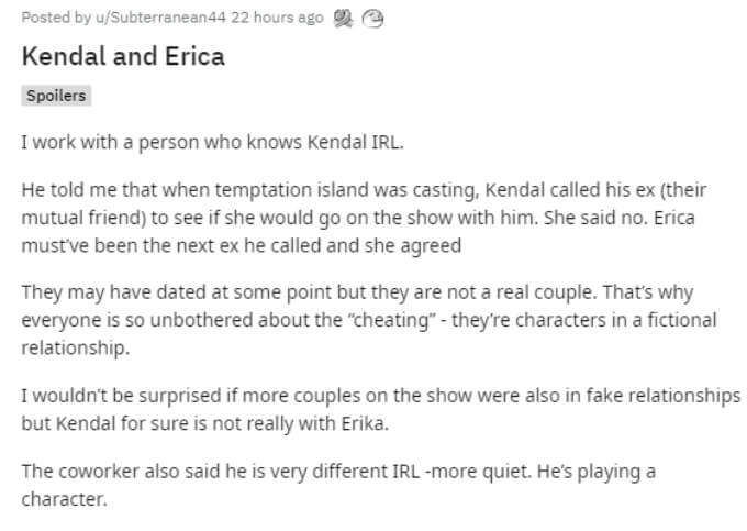 A fan believes Kendal and Erica are faking their relationship