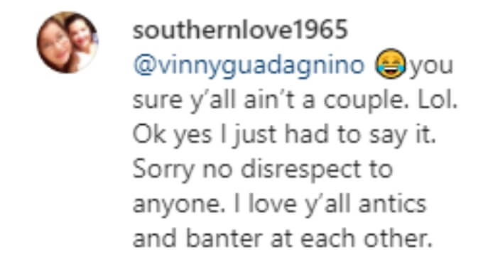A fan loves the ongoing banter between Vinny and Angelina
