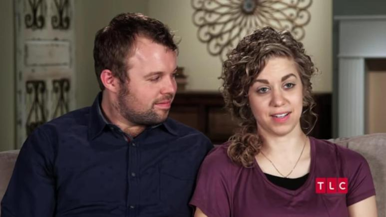 Abbie and John-David in a Counting On confessional.