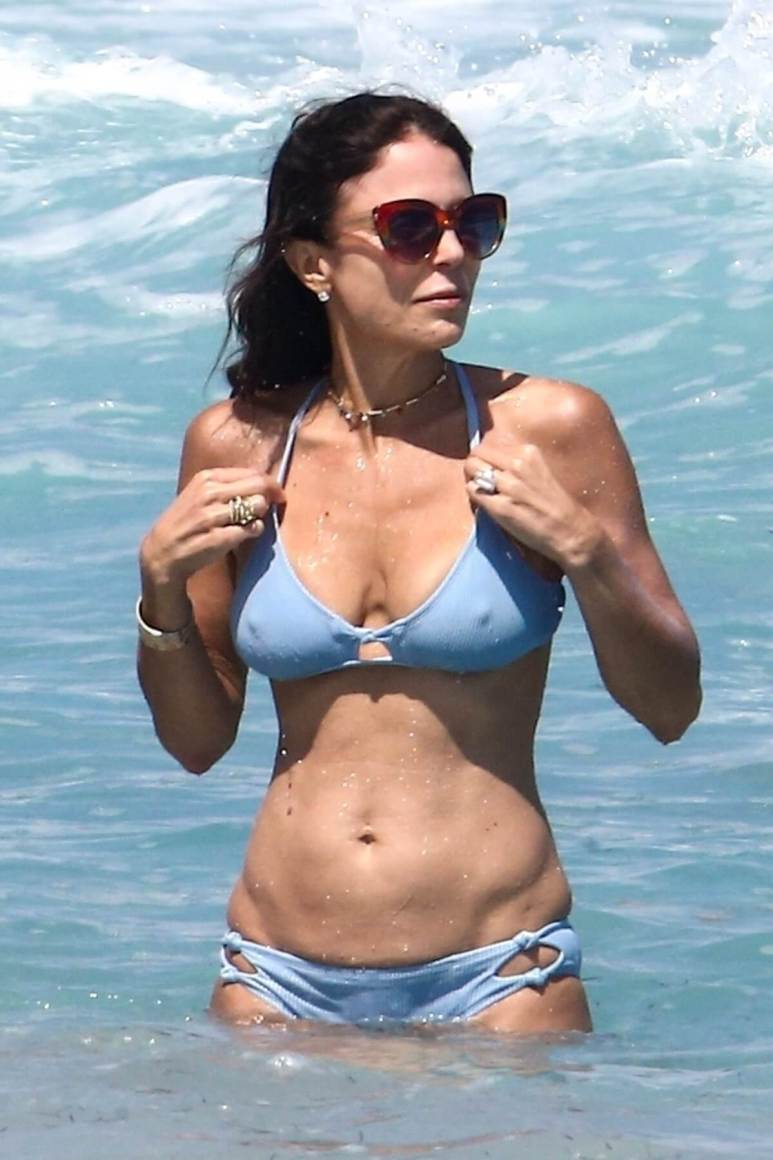 Bethenny Frankel swims in the ocean with her huge new engagement ring