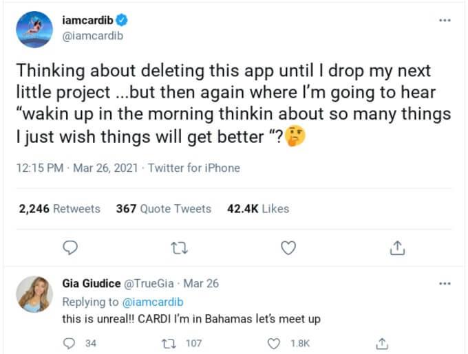Cardi B tweeting about Gia's song.