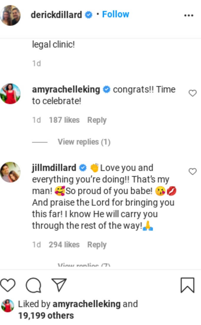 Jill and Amy commented on Derick's IG post.