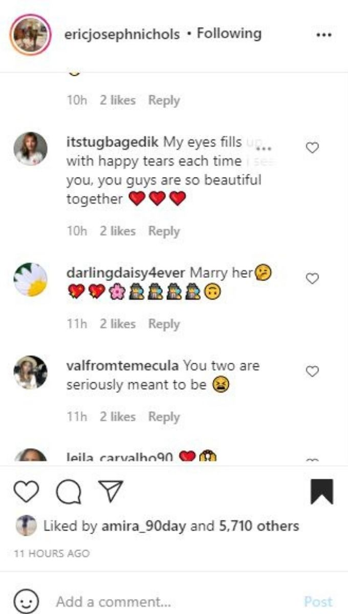 Comments from Eric Nichols' IG post