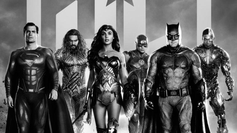 Henry Cavill, Jason Momoa, Gal Gadot, Ezra Miller, Ben Affleck, and Ray Fisher from Justice League.