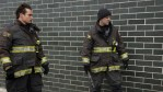 Jon-Michael Ecker and Jesse Spencer on the set of Chicago Fire