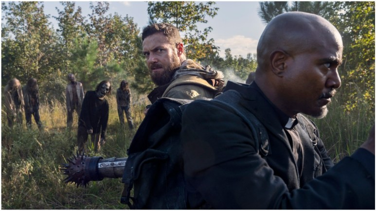 Ross Marquand as Aaron and Seth Gilliam as Father Gabriel, as seen in Episode 19 of AMC's The Walking Dead