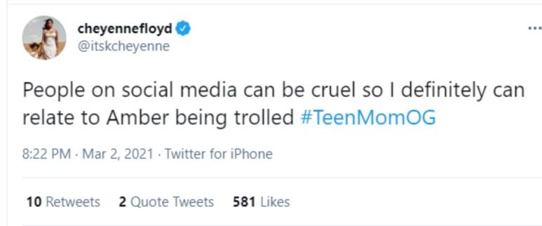 Cheyenne Floyd of Teen Mom OG on Twitter
