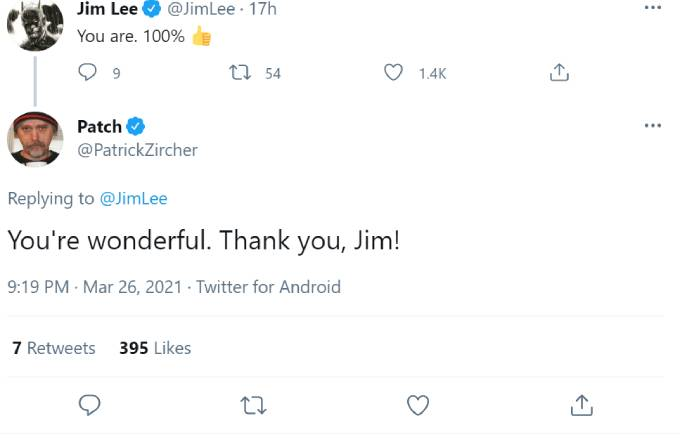 Jim Lee tells Patrick Zircher he'll be in the credits