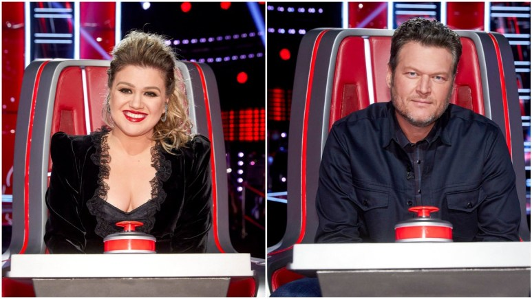 Kelly Clarkson and Blake Shelton appear on NBC's The Voice.