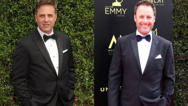 Mark Walberg and Chris Harrison at the Emmys.