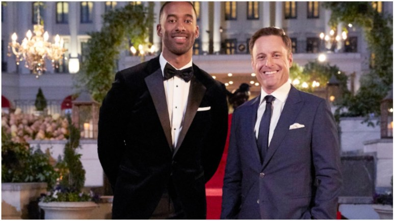 Matt James and Chris Harrison pose for the 25th season of The Bachelor.