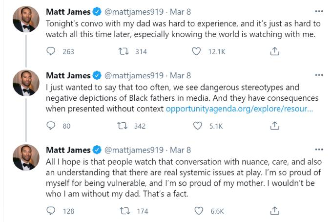 Matt James tweets about the talk with his father.