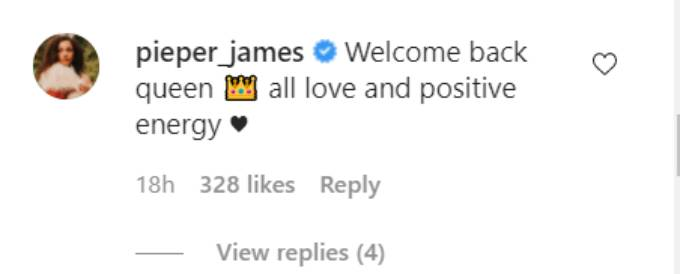 Pieper James comments on Rachel Lindsay's Instagram post.