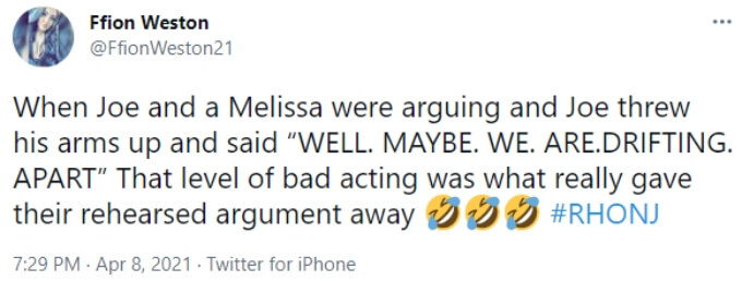 A fan thinks Joe and Melissa were acting during their fight