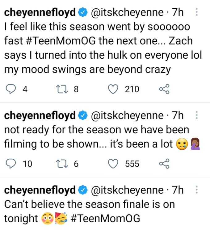 Cheyenne Floyd of Teen Mom OG on Twitter