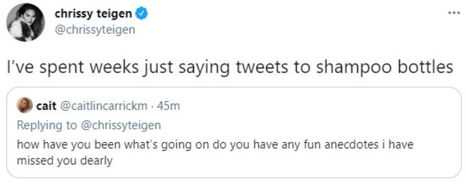Chrissy Teigen jokes on Twitter