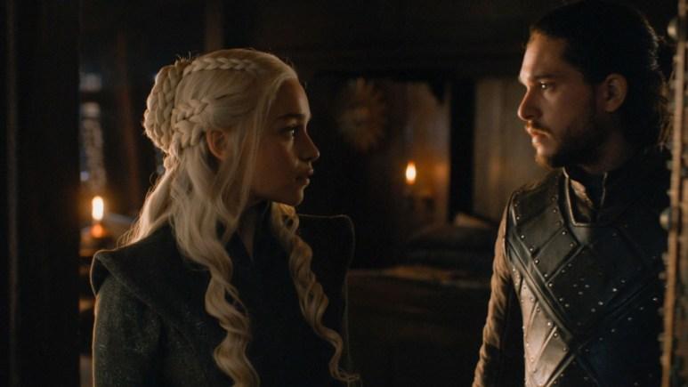 Emilia Clarke as Daenerys Targaryen and Kit Harington as Jon Snow, as seen in HBO's Game of Thrones