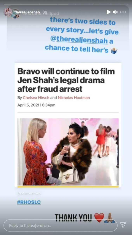 Jen Shah shares fan support on her Instagram story
