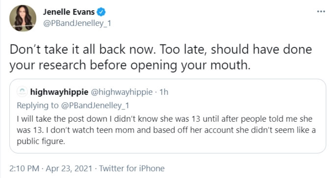 Jenelle Evans formerly of Teen Mom 2 on Twitter