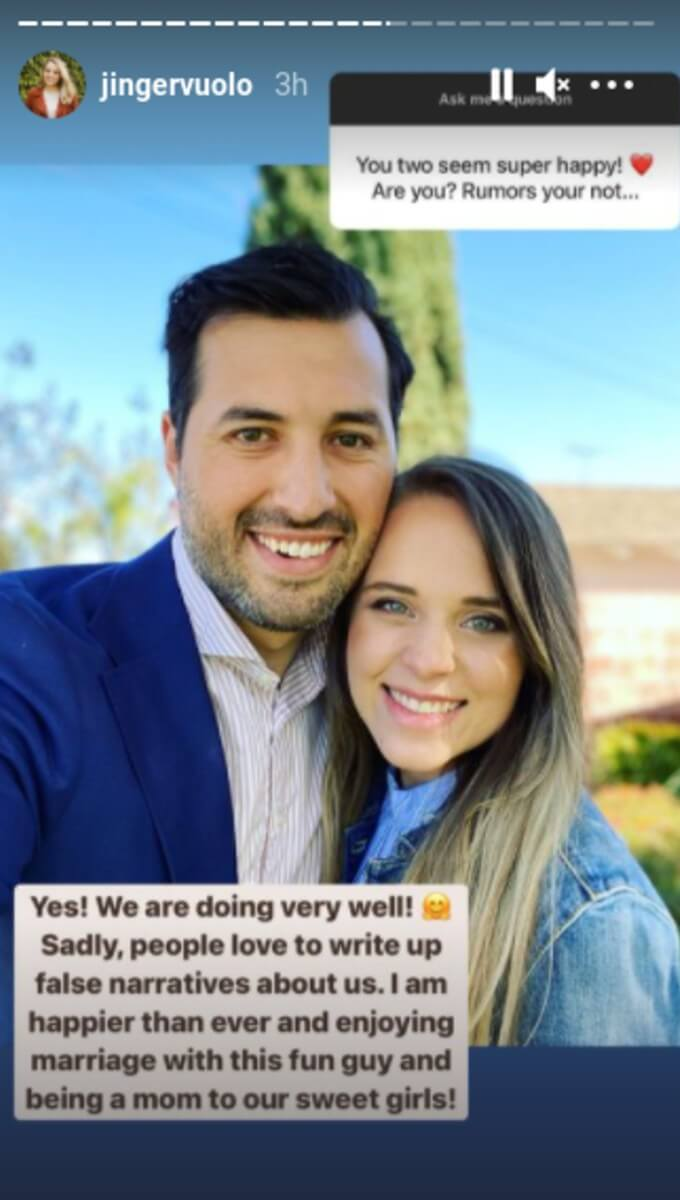 Jinger's response to questions about her marriage.