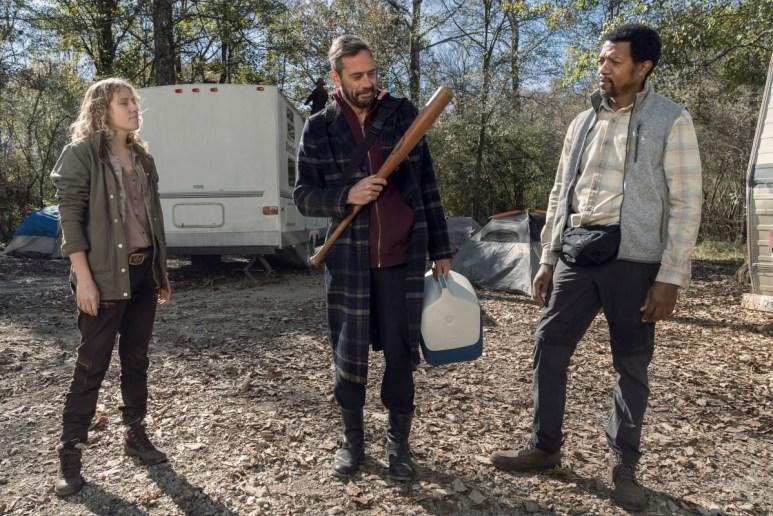 Lindsley Register as Laura, Jeffrey Dean Morgan as Negan, and Miles Mussenden as Franklin, as seen in Episode 22 of AMC's The Walking Dead Season 10C