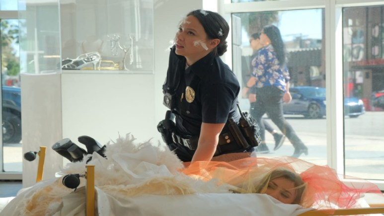Melissa O'Neil as Lucy Chen on the set of The Rookie