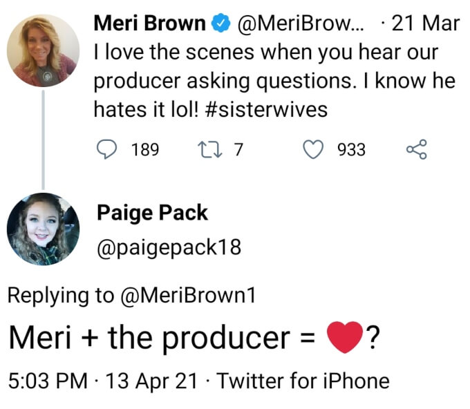 Meri Brown of Sister Wives on Twitter